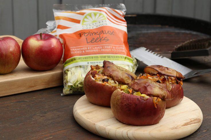 Pommes farcies au poireau, bacon et patate douce